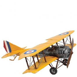 Miniatura de Avião Biplano Amarelo