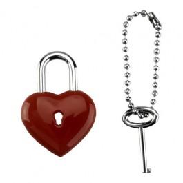 Chaveiro Cadeado Coração com Chave em Aço