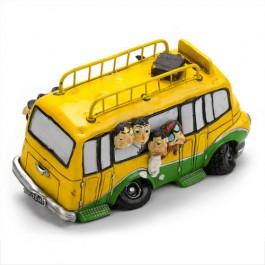 Miniatura de Ônibus Amarelo com Cofrinho