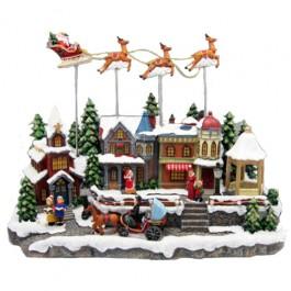 Miniatura de Vila com Papai Noel e Renas