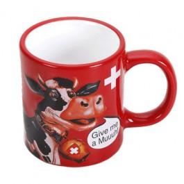 Caneca Estampa Vaca Vermelha em Cerâmica