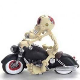 Caricatura Caveira de Motocicleta em Resina