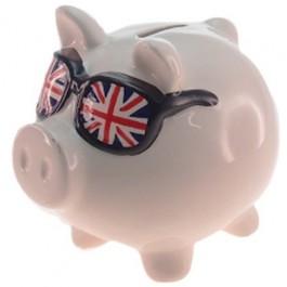 Cofre Porco em Cerâmica Óculos Inglaterra