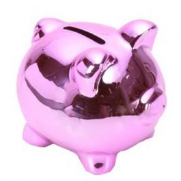 Cofre Porco em Porcelana Rosa