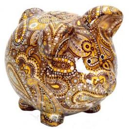 Cofre Porco Grande Estampado em Cerâmica
