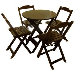 Conjunto de Mesa Redonda 70 e 4 cadeiras Dobráveis