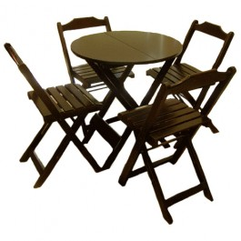 Conjunto de Mesa Redonda 80 e 4 cadeiras Dobráveis
