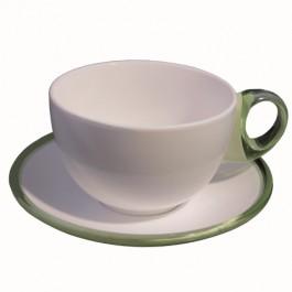 Conjunto com 2 Xícaras Chá em Porcelana Verde Claro