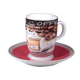 Conjunto com 06 Xícaras Café em Porcelana Coffe