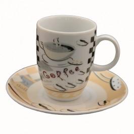 Conjunto com 06 Xícaras Café em Porcelana Dollar