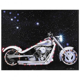 Quadro Moto Harley Davidson Prata com Le