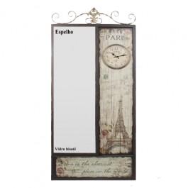 Espelho Paris com Relógio e Armação de Ferro