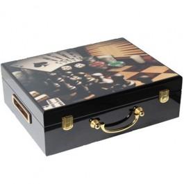 Fichas para Poker em Caixa de Madeira
