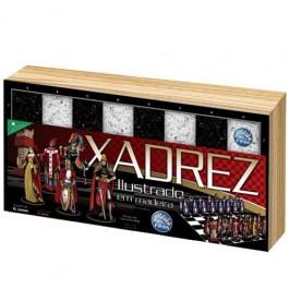 Jogo de Xadrez Ilustrado em Madeira