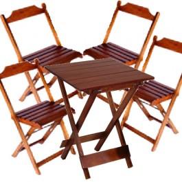 Conjunto de Mesa Quadrada 55 e 4 Cadeira