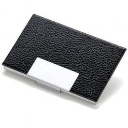 Porta Cartão em Alumínio e Couro Preto