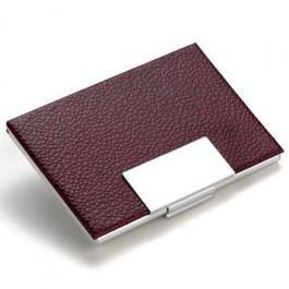 Porta Cartão em Alumínio e Couro Vinho
