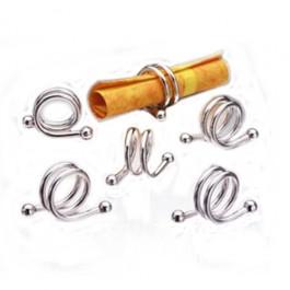 Porta Guardanapos Espiral com 6 Peças em Prata