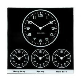 Relógio de Parede Quadrado em Vidro World Time Preto
