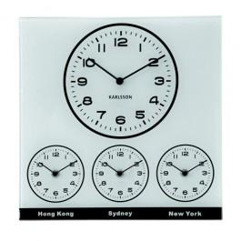 Relógio de Parede Quadrado em Vidro World Time