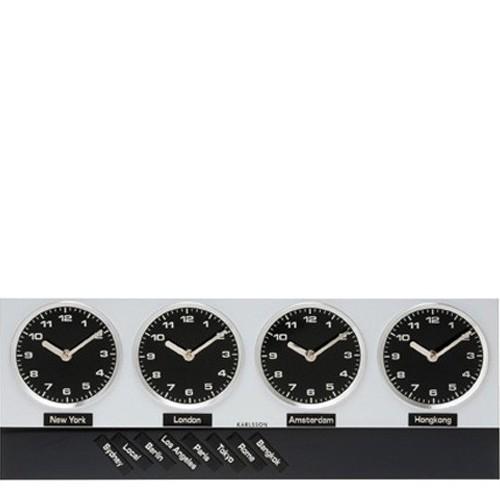d61ffb7b062 Sua Loja de A a Z - Relógio de Parede em Alumínio Timezone Magnético ...