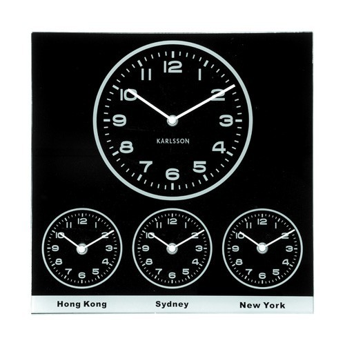 33fa8b7c4fa Sua Loja de A a Z - Relógio de Parede Quadrado em Vidro World Time ...