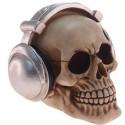 Caveira com Fone de Ouvido em Resina