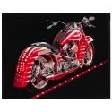 Quadro Moto Harley Davidson Vermelha com Leds