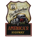 Placa de Parede Rota 66 The Mother Road
