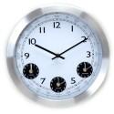 Relógio de Parede Alumínio Fusos Horários