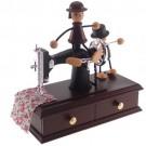 Caixa de Música Maquina de Costura com Meninos