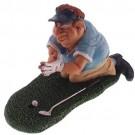 Caricatura de Jogador de Golf Torcendo em Resina