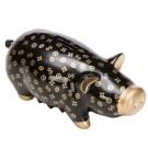 Cofre Porco em Cerâmica Preto Estampado