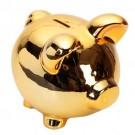 Cofre Porco Grande em Cerâmica Dourado