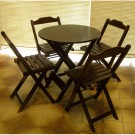 Conjunto de Mesa Redonda 90 e 4 cadeiras Dobráveis