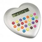 Calculadora Plástica Coração Love Prata