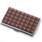 Porta Cartão Chocolate em Metal Cromado e Resina