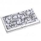 Porta Cartão Love em Metal Cromado e Resina