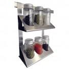 Porta Condimentos Duplo em Aço Inox Escovado