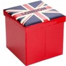 Puff Vermelho com Estampa Bandeira Inglaterra