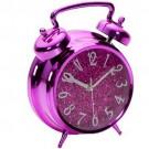 Relógio de Mesa Rosa com Purpurina