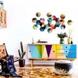 Adesivo Decorativo de Parede Hexagono Color