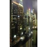Biombo com Imagem de Manhattan Visto do Mar e Luzes Leds