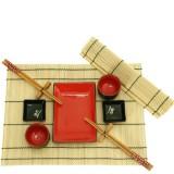 Jogo para Sushi Preto e Vermelho