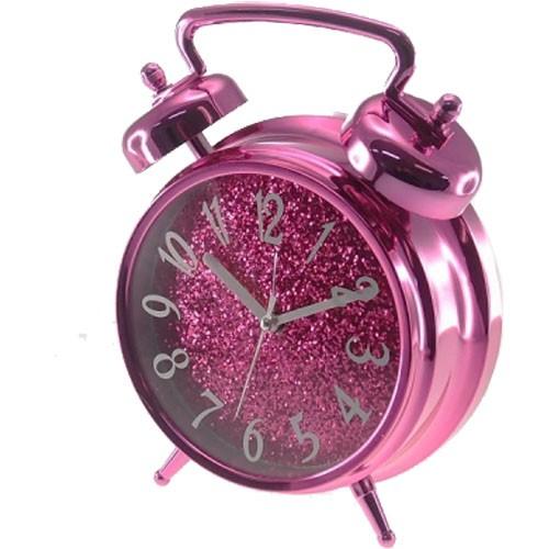5d5c5c42619 Sua Loja de A a Z - Relógio de Mesa Rosa com Purpurina - DEPARTAMENTOS